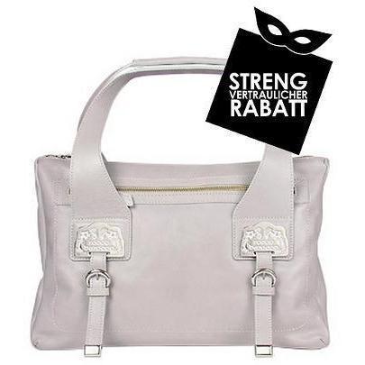 Roccobarocco Grosse lilafarbene Handtasche mit Reißverschluss und Logo-Plaketten