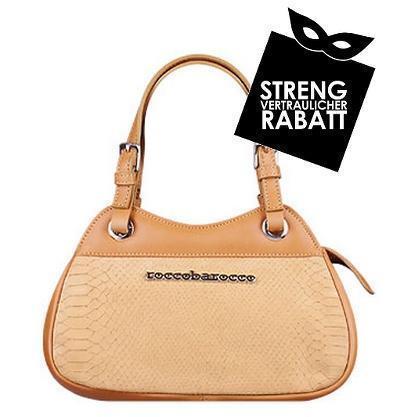Roccobarocco Kompakte Handtasche aus camelfarbenem Leder mit Logo