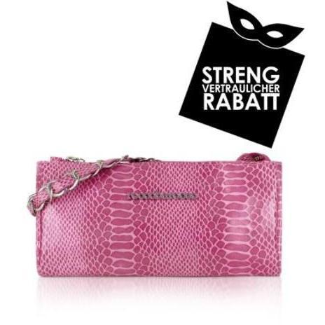 Roccobarocco Luxy - Baguettetasche mit Pythonprägung in pink