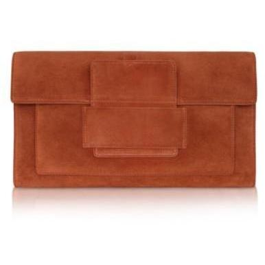 Rochas Clutch aus Wildleder in orange