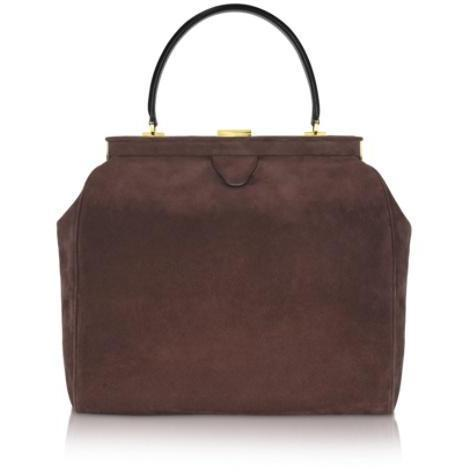 Rochas Handtasche aus Wildleder in dunkelbraun