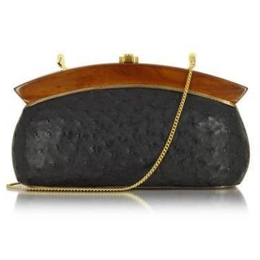 Rocio Elizabeth - Clutch aus schwarzem Straußenleder
