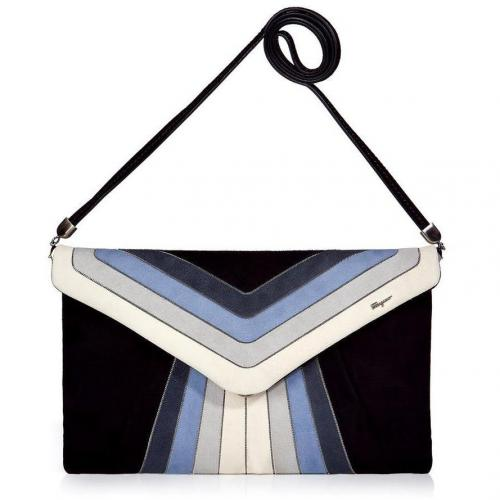 Salvatore Ferragamo Black and Azure Suede Clutch with Shoulder Strap