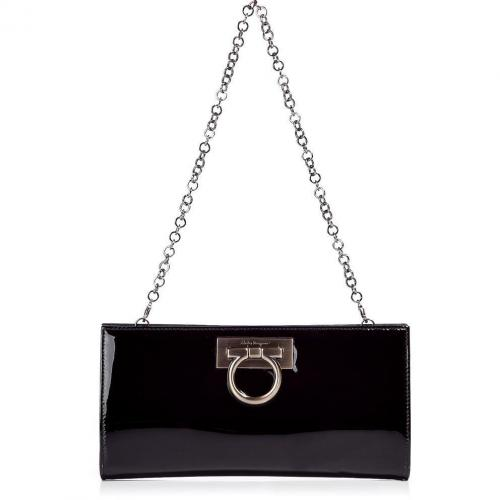 Salvatore Ferragamo Black Patent Chain Strap Norina Clutch