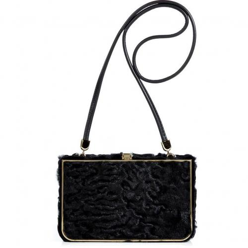 Salvatore Ferragamo Black Persian Lamb Shoulder Bag