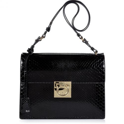 Salvatore Ferragamo Black Python Marisol Shoulder Bag