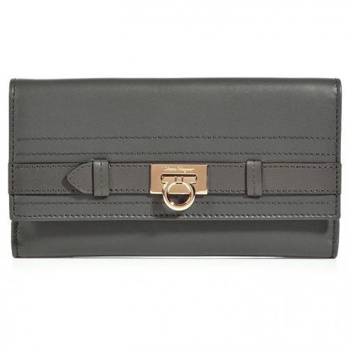 Salvatore Ferragamo Charcoal Flap Wallet