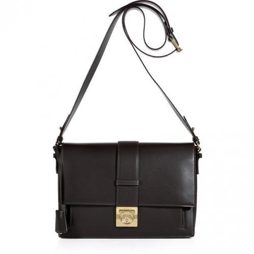Salvatore Ferragamo Dark Brown Leather Aida Bag