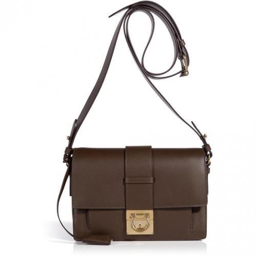 3a48b6efac3e9 Salvatore Ferragamo Dark Brown Leather Anzhela Crossbody Bag