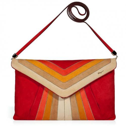 Salvatore Ferragamo Flame Scarlet and Mandarin Suede Clutch with Shoulder Strap