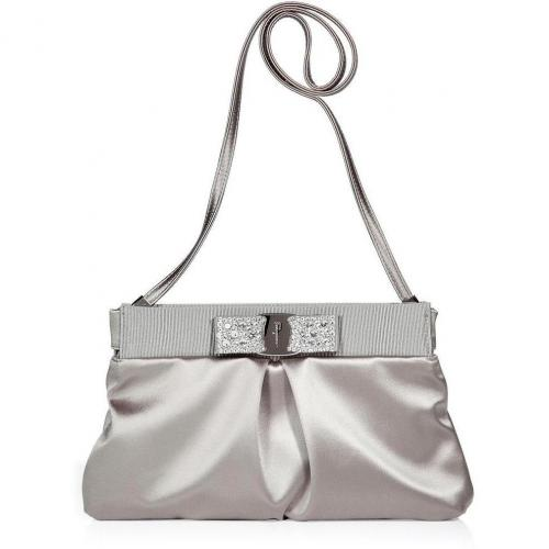 Salvatore Ferragamo Ice Grey Sateen Clutch with Bow