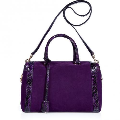 Salvatore Ferragamo Purple Suede and Python Marilyn Bag