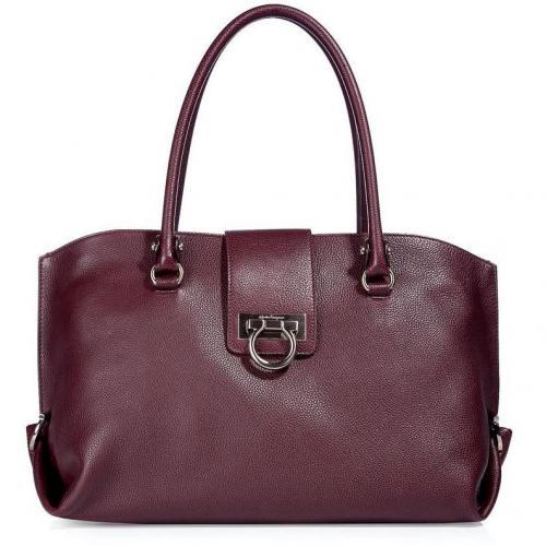Salvatore Ferragamo The Soft Sofia Oxblood Grained Leather Bag