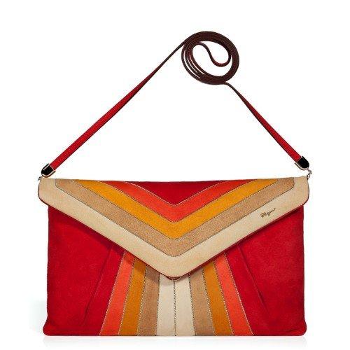 Salvatore Ferragamo Clutch Bag Flame Scarlet und Mandarin Suede