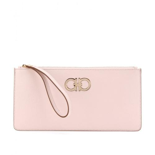 Salvatore Ferragamo Leather Clutch Rosa