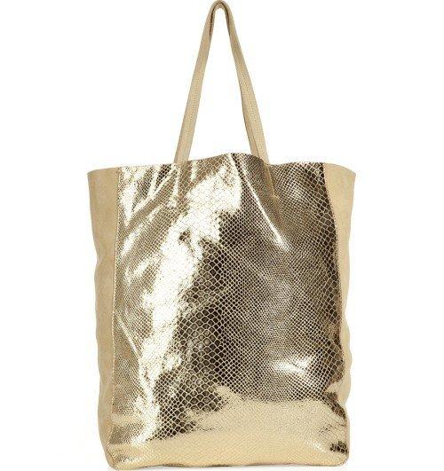 Sandro Beige mit Gold Python Print Tasche