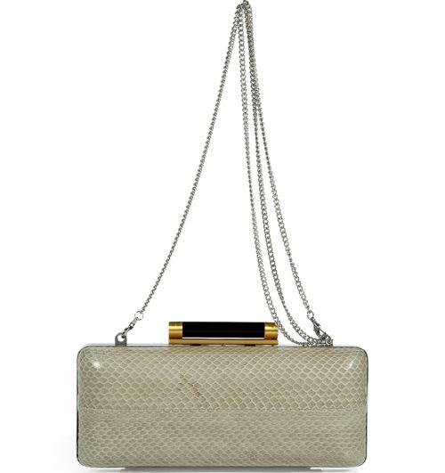 Diane von Furstenberg Clutch Bag Flax Tonda Schlangenleder