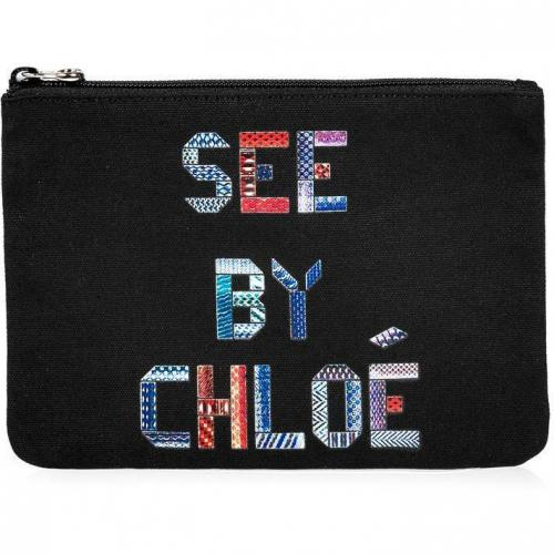 See by Chloe Black Signature Cotton Canvas Pouch