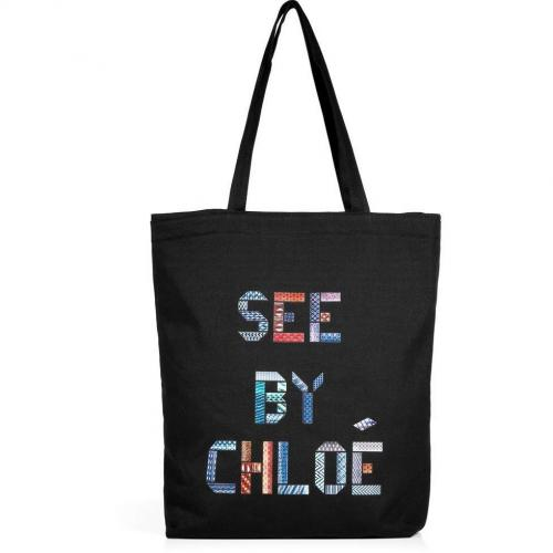 See by Chloe Black Signature Cotton Canvas Shopping Tote