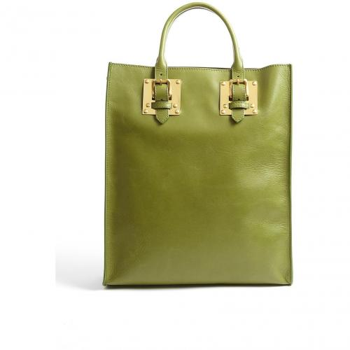 Sophie Hulme Green Leather Buckle Tote With Gold Plated Hardware