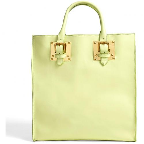 Sophie Hulme Medium Lime Leather Tote With Gold Plated Hardware