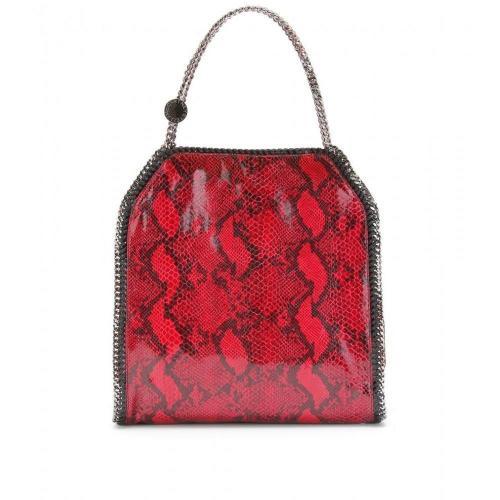Stella McCartney Falabella Large Snake-Print Schultertasche Red