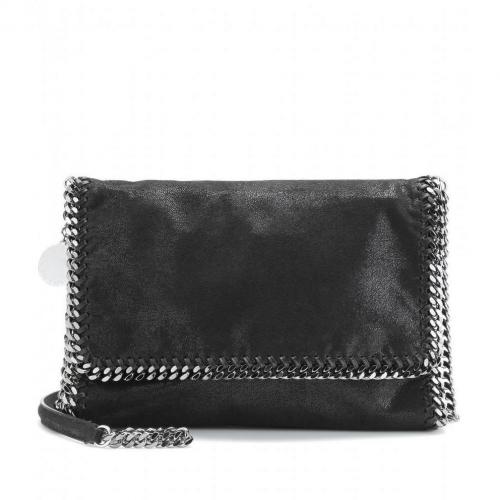 Stella McCartney Falabella Shaggy Deer Fold-Over Schultertasche Black