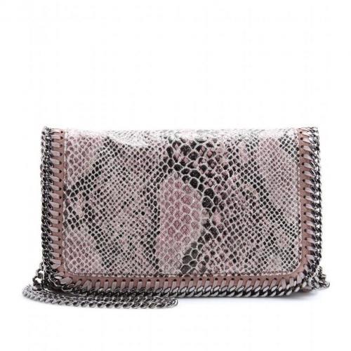 Stella McCartney Falabella Snake-Print Mini-Schultertasche Pink