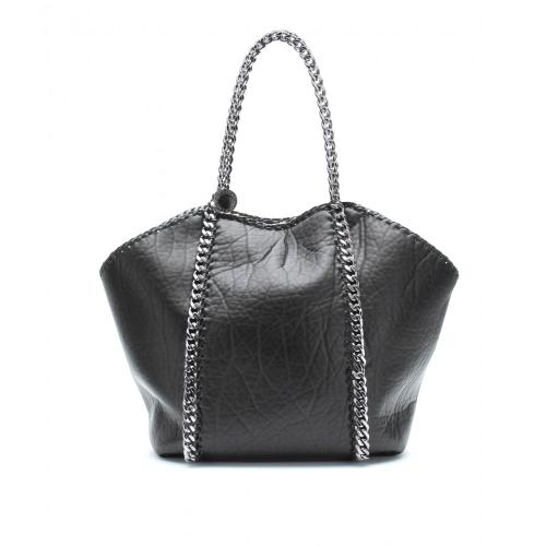 Stella McCartney Falabella Faux Shearling Shopper Schwarz