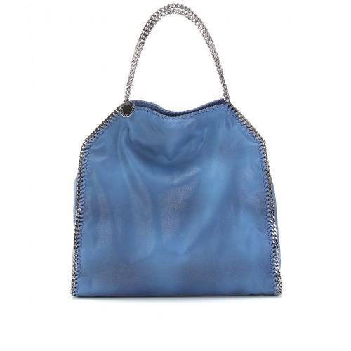 Stella McCartney Falabella Shaggy Deer Big Tote Blau/Grün