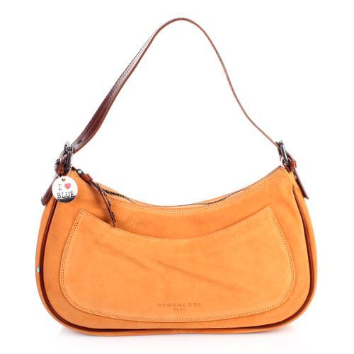 Strenesse Blue Shoulder Bag Velour Leather Orange