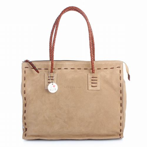Strenesse Shopper Velour Leather Large Beige