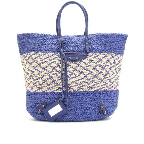 Balenciaga Stricktasche Shopper Aus Bast Blau
