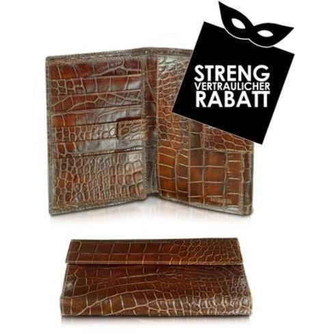 Tavecchi Croco Fashion - Damenbrieftasche aus geprägtem Leder in braun