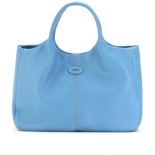 Tod's 24 Shopping Media Ledershopper Blau/Grün