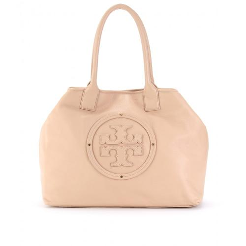Tory Burch Stacked Logo Classic Tote Bag Beige