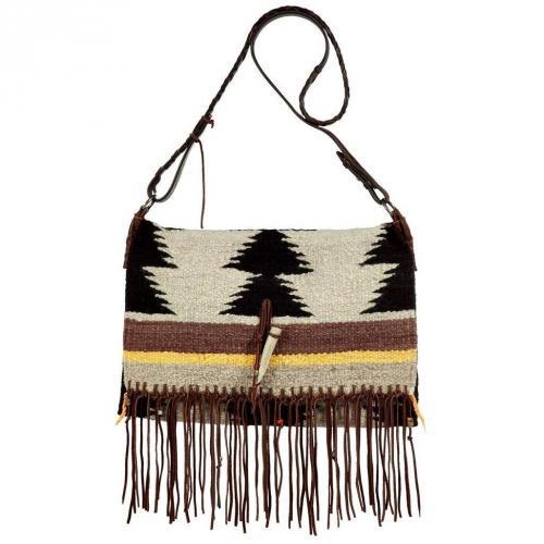 Totem Ecru/Black Small Saddle Blanket Fringe Bag
