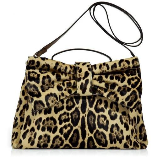 Valentino Beige Leopard Print Calf Hair Tote