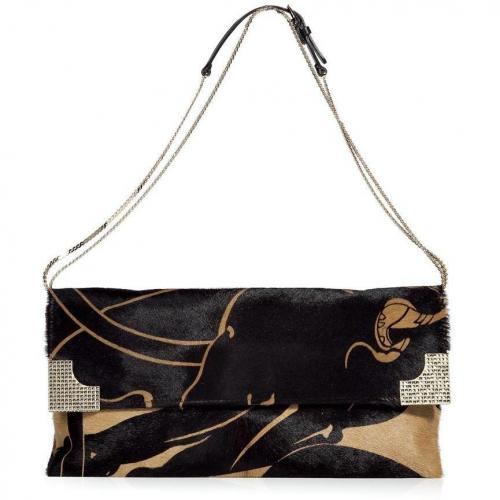 Valentino Black and Camel Calf Hair Clutch