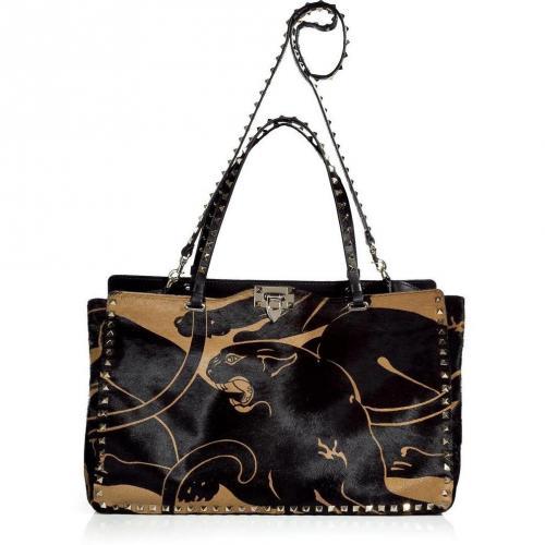 Valentino Black and Camel Rock Stud Calf Hair Bag