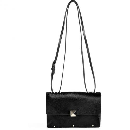 Valentino Black Haircalf Small Crossbody Bag