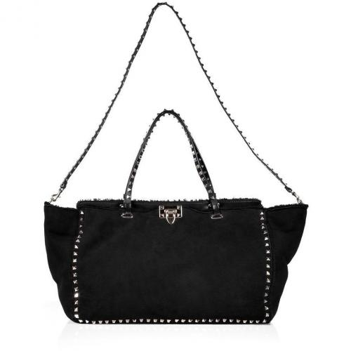 Valentino Black Lambskin Rockstud Tote with Shoulder Strap