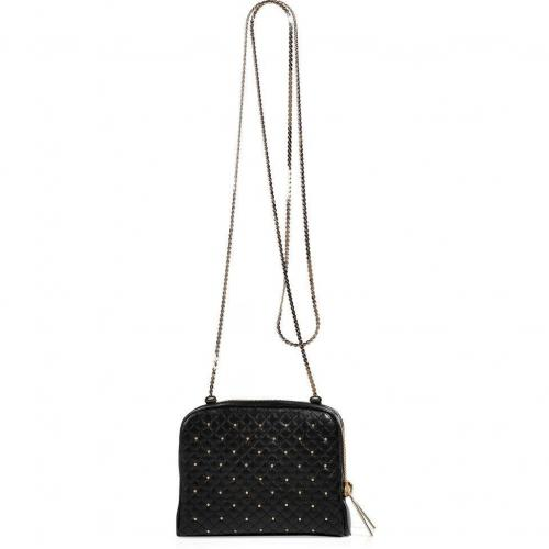 Valentino Black Leather Quilted Mini Crossbody Bag