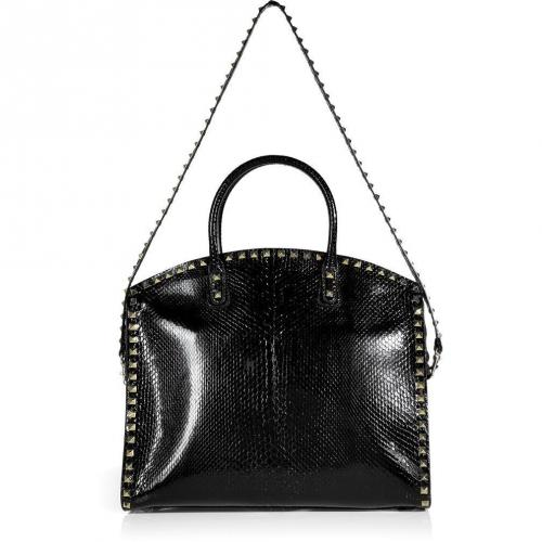 Valentino Black Python Rockstud Tote with Shoulder Strap