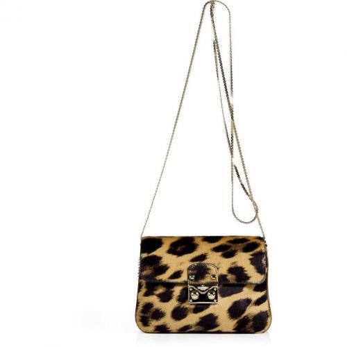Valentino Brown Leopard Print Calf Hair Crossbody Bag
