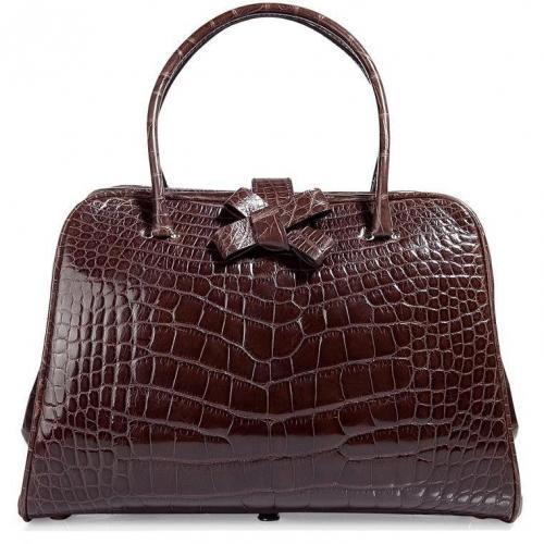 Valentino Chocolate Crocodile Leather Bag