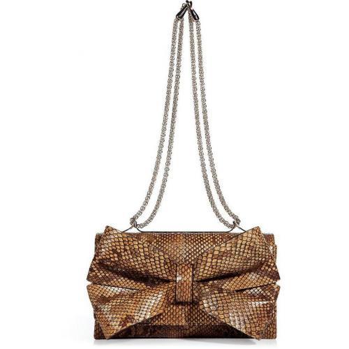 Valentino Golden Brown Python Shoulder Bag