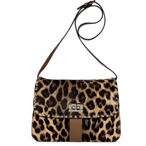Valentino Leopard Studded Calf Hair Bag