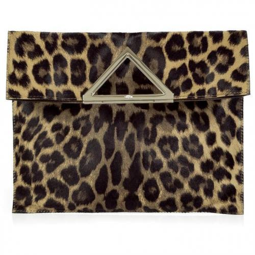 Valentino Natural Leopard Print Haircalf Clutch