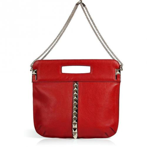 Valentino Red Studded Leather Tote with Chain Straps